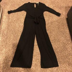 NWT Entro Black 3/4 Sleeve Tie-Front Jumpsuit